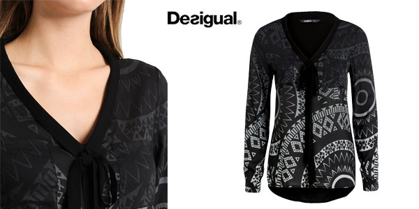 Blusa Desigual Lazo Noa en color negro para mujer chollo en Amazon