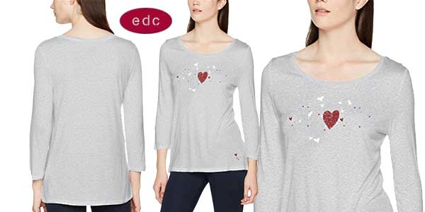 Camiseta EDC by Esprit de manga larga para mujer barata en Amazon Moda