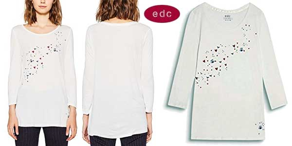 Camiseta EDC by Esprit de manga larga para mujer chollo en Amazon Moda