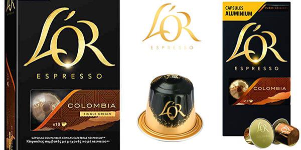 cápsulas café L'OR Espresso Colombia de intensidad fuerte a precio brutal