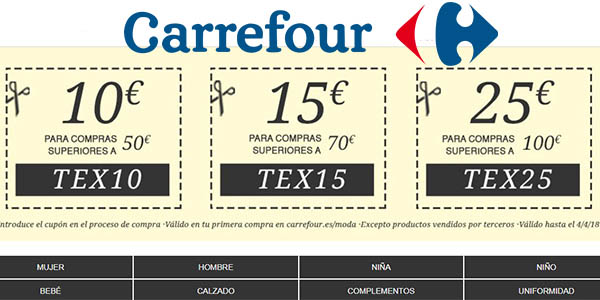 Carrefour online promoción en moda con cupón descuento marzo 2018