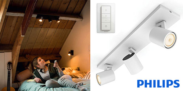 Chollo triple foco LED orientable Philips Hue White Ambiance Runner de color blanco
