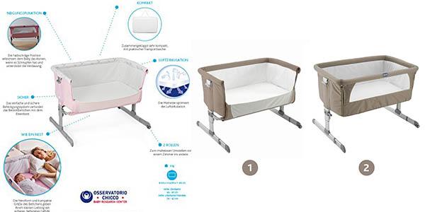 cuna colecho Chicco Next2me adaptable a todo tipo de camas con anclaje en oferta