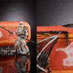 Deslizador de Rey en Jakku (Star Wars) y figura articulada en oferta