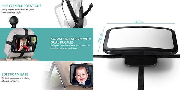Chollo espejo retrovisor victsing para coche para vigilar for Espejo retrovisor coche bebe