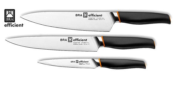 Set de 3 sartenes, 18-22-26 cm BRA Efficient aluminio fundido con antiadherente Platinum Plus y 3 cuchillos de acero inoxidable alemán chollazo en Amazon