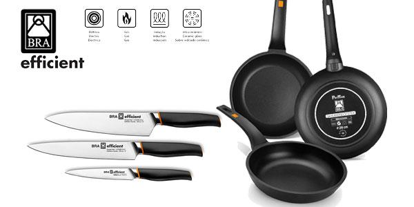 Set de 3 sartenes, 18-22-26 cm BRA Efficient aluminio fundido con antiadherente Platinum Plus y 3 cuchillos de acero inoxidable alemán barato en Amazon