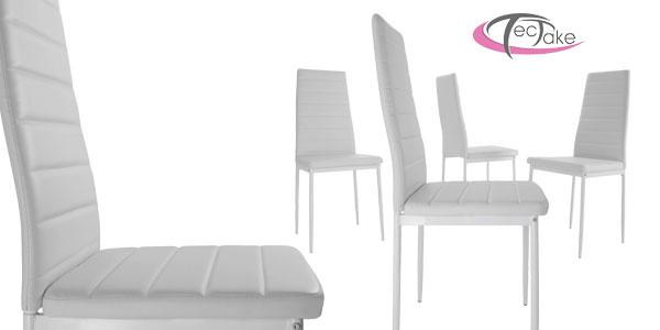 Conjunto de mesa de acero y vidrio templado y 4 sillas de comedor en negro o blanco chollo en eBay