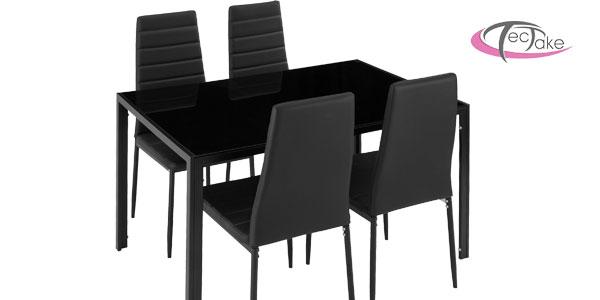 Conjunto de mesa de acero y vidrio templado y 4 sillas de comedor en negro o blanco barato en eBay