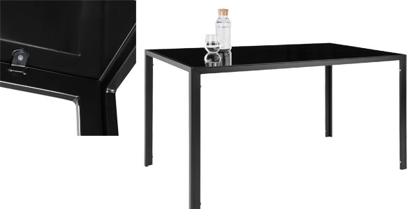 Conjunto de mesa de acero y vidrio templado y 4 sillas de comedor en negro o blanco chollazo en eBay
