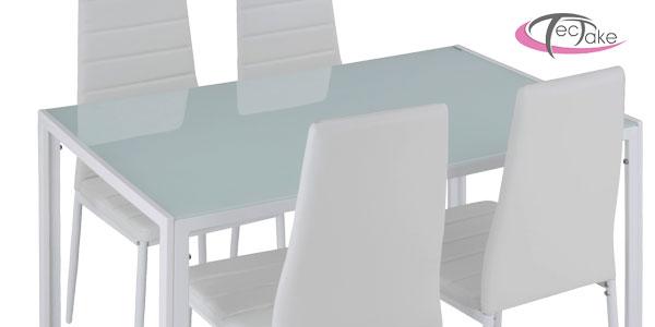 Conjunto de mesa de acero y vidrio templado y 4 sillas de comedor en negro o blanco oferta en eBay