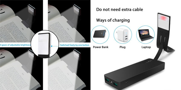 Luz de lectura flexible Areson con 4 niveles de brillo y USB de carga integrado chollazo en Amazon
