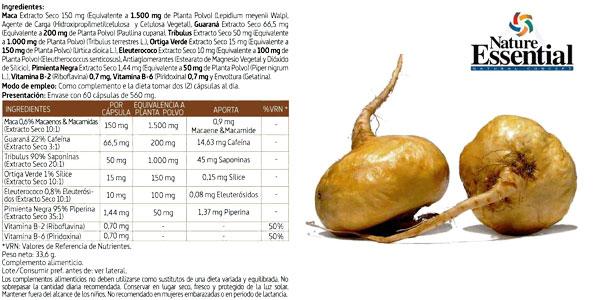 Maca Complex 3.000 mg 60 Cápsulas de concentrado de maca, tribulus, guaraná, ortiga verde, eleuterococo y pimienta chollo en Amazon