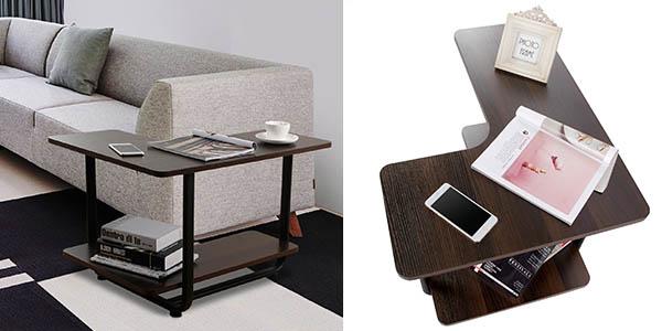 mesa auxiliar Lifewit en forma de ele y madera de nogal barata
