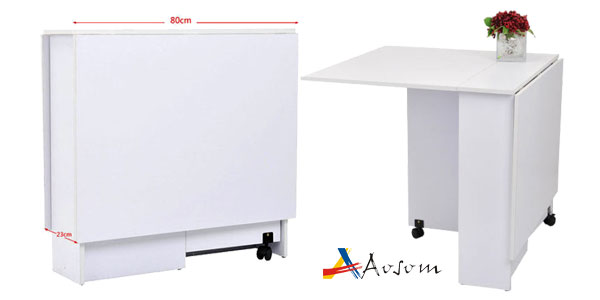 Mesa Plegable Madera Homcom con Ruedas 140x80x74cm chollo en eBay España