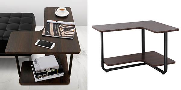 Chollazo mesa auxiliar lifewit con forma de l en madera de for Mesa auxiliar esquinera