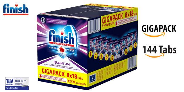 Pack de 144 pastillas de detergente Finish Powerball Super Power Quantum para lavavajillas barato en Amazon