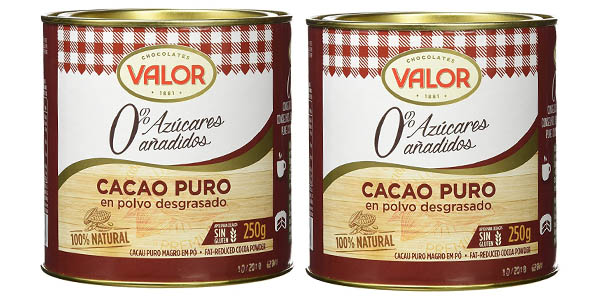 pack 2 botes Cacao puro Chocolates Valor de 250 gramos en oferta