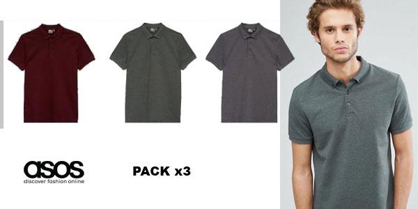 Pack de 3 polos de piqué Asos Design para hombre barato en Asos