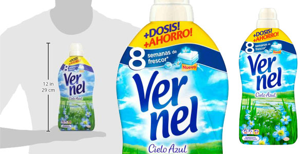 Pack 4 botellas de Vernel Suavizante Concentrado cielo Azul 57 lavados chollo en Amazon