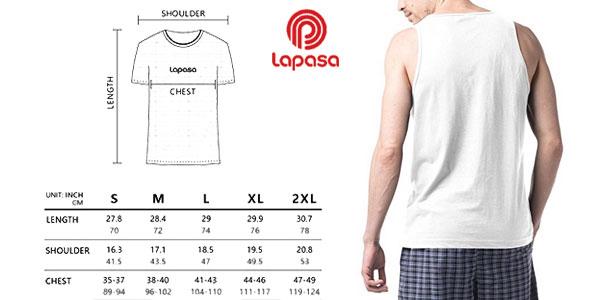 Pack de 4 camisetas de tirantes Lapasa 100% algodón para hombre chollazo en Amazon