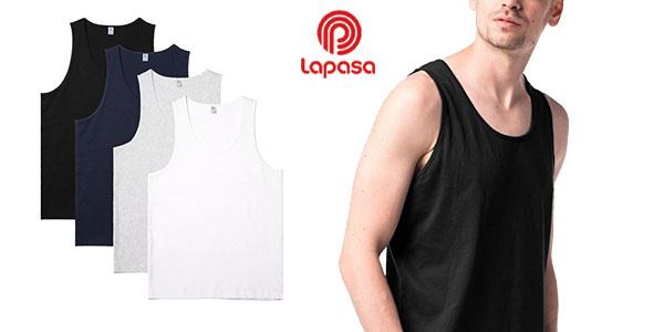 Pack de 4 camisetas de tirantes Lapasa 100% algodón para hombre chollo en Amazon