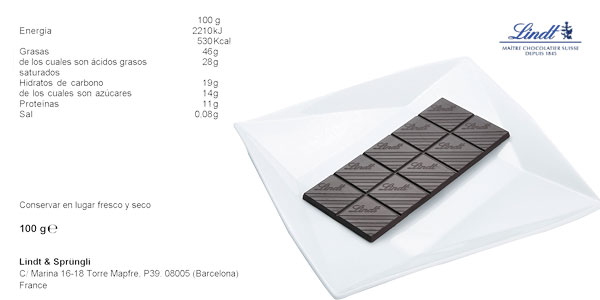 Pack 4 tabletas Chocolate negro Lindt Excellence 85% cacao chollazo en Amazon