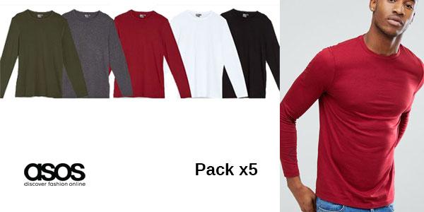 Pack de 5 camisetas de manga larga y cuello redondo de Asos para hombre barato en Asos