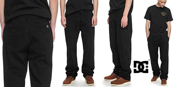 Pantalones chinos DC Shoes Worker Relaxed de color negro para hombre baratos