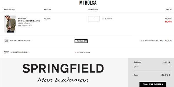 ropa rebajada Springfield con diseños casuales a precios brutales