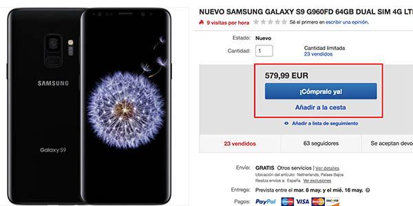 Samsung S9 barato en eBay