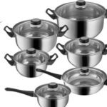 Set de 12 piezas TecTake de ollas y cacerolas de acero inoxidable con tapa de cristal barato en eBay