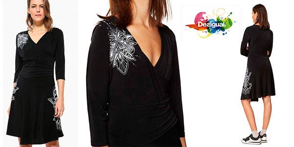 Vestido Desigual Alison con top cruzado de color negro para mujer en oferta