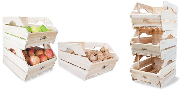 cajas de almacenaje apilables en madera Habau baratas