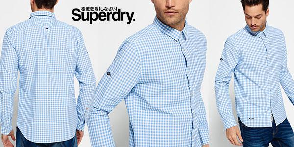 Camisa Superdry Sky Gingham de manga larga con estampado cuadros para hombre barata