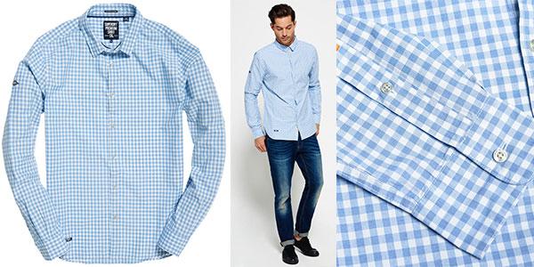 Chollo Camisa de manga larga de algodón Superdry Sky Gingham con estampado cuadros azul y blanco para hombre