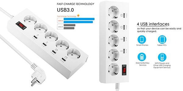Chollo Regleta inteligente con 5 enchufes y 4 USB con carga rápida