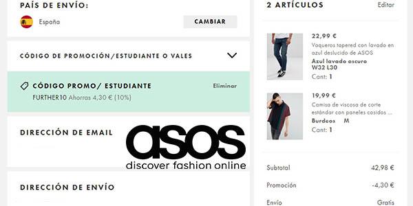 código descuento FURTHER10 en la tienda de ropa Asos