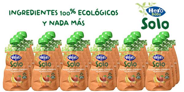 Hero Solo Baby puré de manzana, plátano y zanahoria ECO en pack 18 bolsitas en oferta