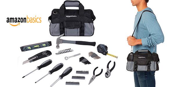 Juego de herramientas Amazon Basics de 65 piezas con bolsa de transporte barato