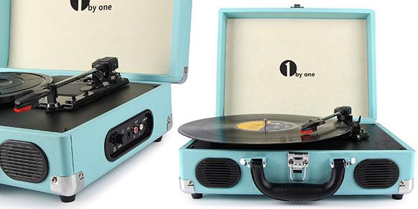 Maletín tocadiscos 1byoneOEU000750 con placa giratoria de 3 velocidades y salida de audio en oferta