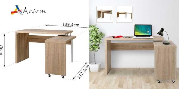 Chollazo escritorio extensible multiforma homcom aosom por for Mesa escritorio barata