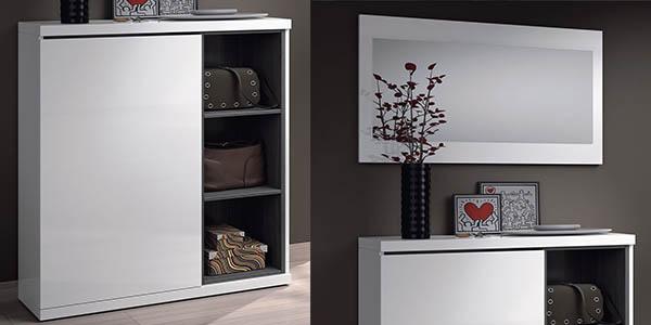 mueble para el recibidor con espacio de almacenaje en blanco brillo en oferta
