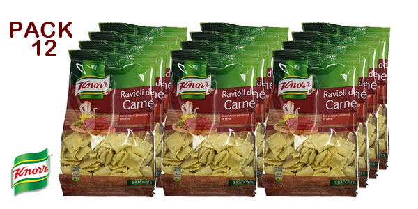Pack de12 envases de Ravioli rellenos de Carne Knorr baratos en Amazon