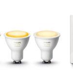 Pack de 3 bombillas Philips Hue White Ambiance LED GU10 con interruptor inalámbrico barato en Amazon