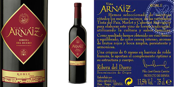 Pack de 6 botellas Viña Arnáiz Roble Ribera del Duero chollo en Amazon