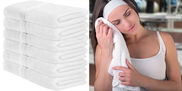 Pack de 6 toallas de baño de color blanco barato