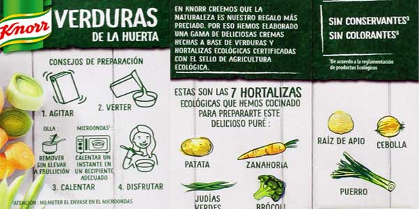 Pack 8 Paquetes Purés Knorr Eco de verduras de la huerta chollo en Amazon