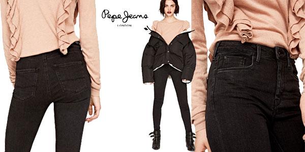 Pantalones vaqueros Pepe Jeans London Regent en color negro para mujer baratos en Amazon