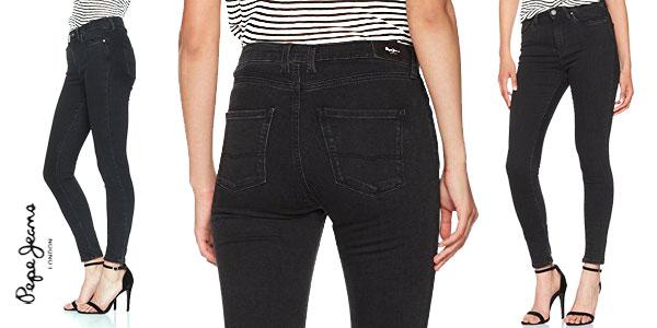 Pantalones vaqueros Pepe Jeans London Regent en color negro para mujer chollo en Amazon